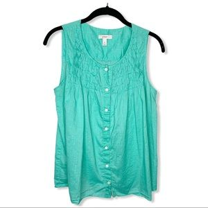 J. CREW / green smocked button front tank top / 6